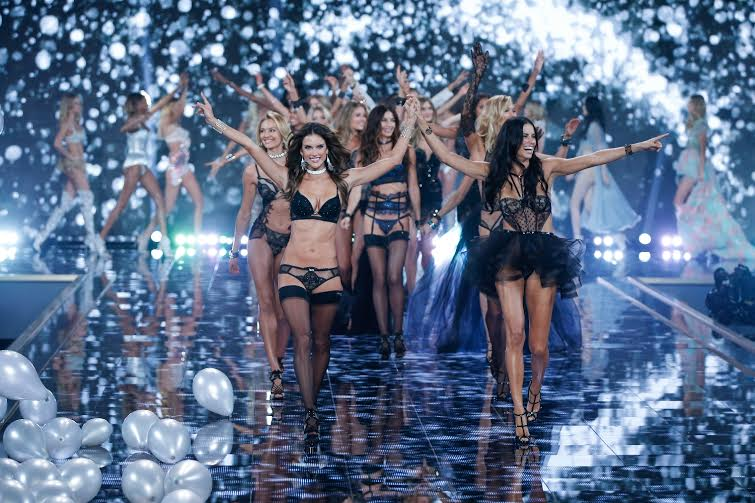 A model walks the runway at the 19th annual Victoria's Secret Fashion Show in London on December 2nd, 2014