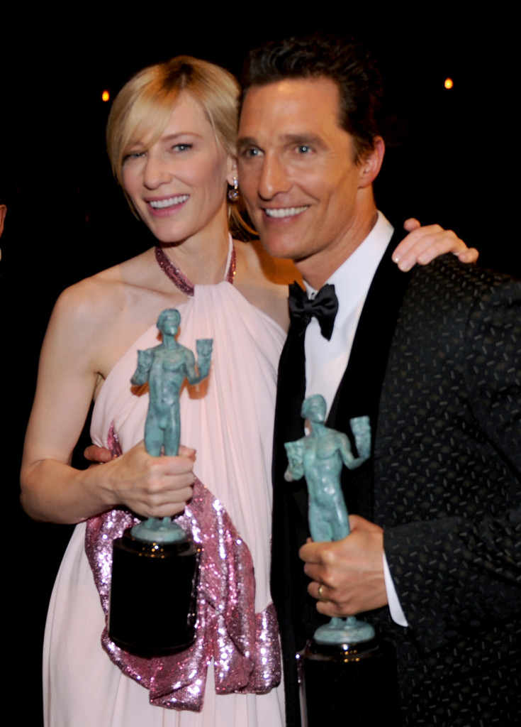 LOS ANGELES, CA - JANUARY 18:  Actors Cate Blanchett (L) and Matthew McConaughey attend the 20th Annual Screen Actors Guild Awards at The Shrine Auditorium on January 18, 2014 in Hollywood, California.  (Photo by Kevin Winter/WireImage)