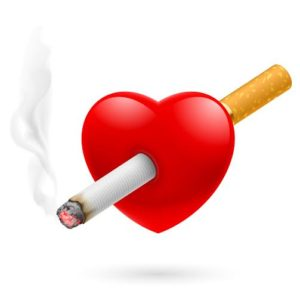Smoking kill. Illustration of red heart impaled by cigarette.