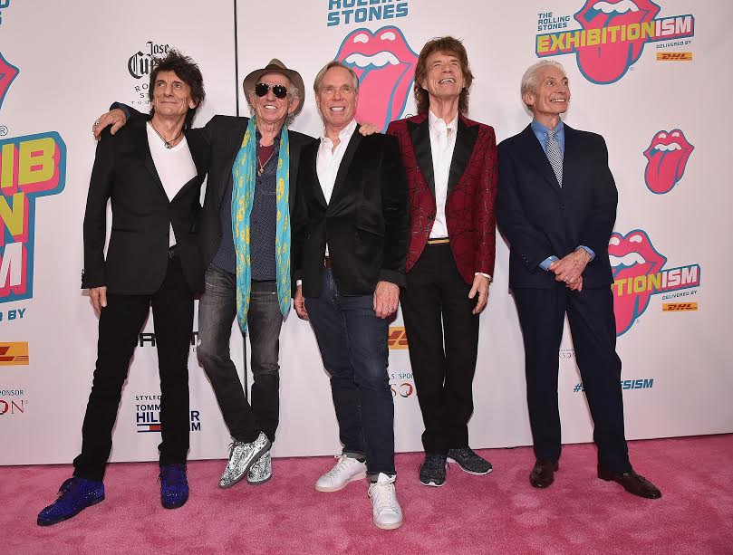 NEW YORK, NY - NOVEMBER 15:  (L-R) Ronnie Wood, Keith Richards, designer Tommy Hilfiger, Mick Jagger, and Charlie Watts attend The Rolling Stones celebrate the North American debut of Exhibitionism at Industria in the West Village on November 15, 2016 in New York City.  (Photo by Theo Wargo/Getty Images for The Rolling Stones) *** Local Caption *** Ronnie Wood; Keith Richards; Tommy Hilfiger; Mick Jagger; Charlie Watts